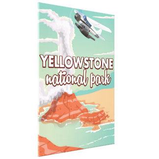 Yellowstone national park cartoon travel poster canvas print