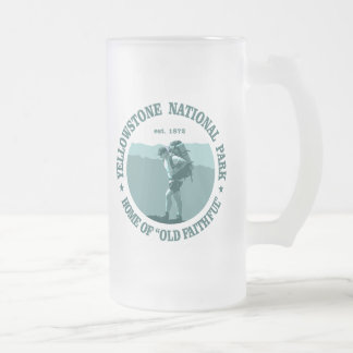 Yellowstone National Park Frosted Glass Beer Mug