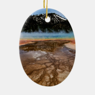 YELLOWSTONE NATIONAL PARK, GRAND PRISMATIC Double-Sided OVAL CERAMIC CHRISTMAS ORNAMENT