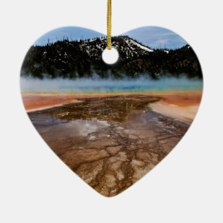 YELLOWSTONE NATIONAL PARK, GRAND PRISMATIC Double-Sided HEART CERAMIC CHRISTMAS ORNAMENT