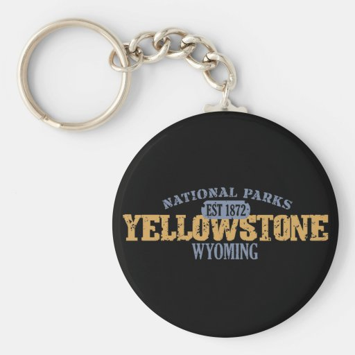 Yellowstone National Park in National Park Basic Round Button Keychain