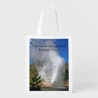 Yellowstone National Park Riverside Geyser Souveni Reusable Grocery Bag