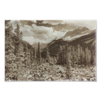 Yellowstone National Park Sepia Wyoming Landscape Photo Print