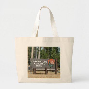 Beach Themed Yellowstone National Park, sign, Wyoming, U. S. Large Tote Bag