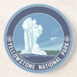 """Yellowstone National Park Souvenir Drink Coaster<br><div class=""""desc"""">Vintage WPA travel poster artwork reproduced on a coaster. Makes a great souvenir! Are you wanting to make a set of coasters with different designs?</div>"""