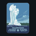"Yellowstone National Park Souvenir Magnet<br><div class=""desc"">Vintage WPA Poster artwork that has been restored and sized to fit a fun refrigerator magnet.</div>"