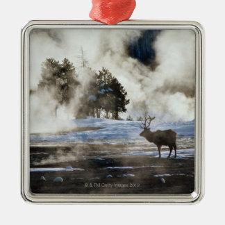 Yellowstone National Park Square Metal Christmas Ornament