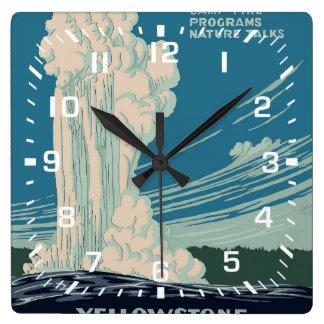 Yellowstone National Park Square Wall Clock