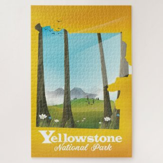Yellowstone National Park vacation poster. Jigsaw Puzzle