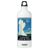 Yellowstone National Park Vintage Poster Aluminum Water Bottle