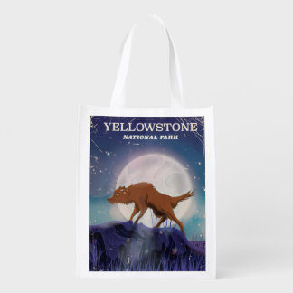 Yellowstone National Park wolf vintage poster Market Tote