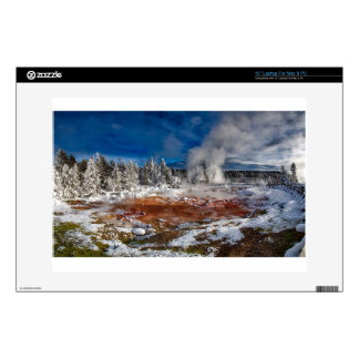 Yellowstone National Park Wyoming in winter Decals For Laptops