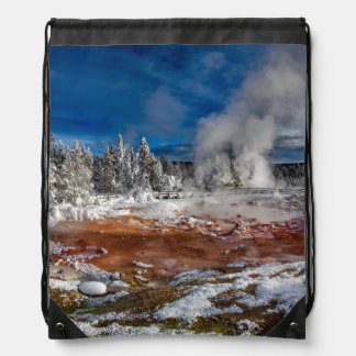 Yellowstone National Park Wyoming in winter Drawstring Bag