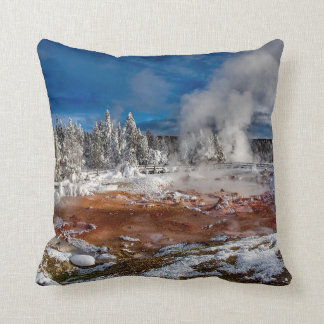 Yellowstone National Park Wyoming in winter Throw Pillow