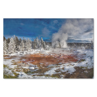 Yellowstone National Park Wyoming in winter Tissue Paper