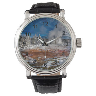 Yellowstone National Park Wyoming in winter Wrist Watch