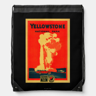 Yellowstone, Old Faithful Advertising Poster Drawstring Backpack