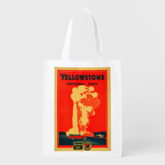 Yellowstone, Old Faithful Advertising Poster Grocery Bag