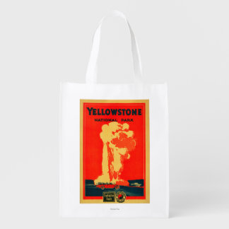Yellowstone, Old Faithful Advertising Poster Reusable Grocery Bag