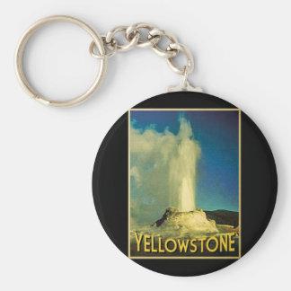 Yellowstone Old Faithful Basic Round Button Keychain