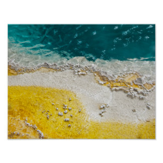 Yellowstone Park Abstract in Teal and Yellow Poster