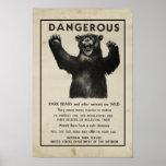 Yellowstone Park Bear Vintage Warning 1959 Posters