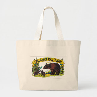 Yellowstone Park with Bear Advertisement Large Tote Bag