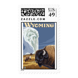 Yellowstone Park, WY - Buffalo by Old Faithful Stamps