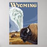 Yellowstone Park, WY - Buffalo by Old Faithful Print