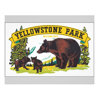 Yellowstone Park Wyoming, Vintage Flyer
