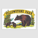 Yellowstone Park Wyoming, Vintage Rectangular Stickers