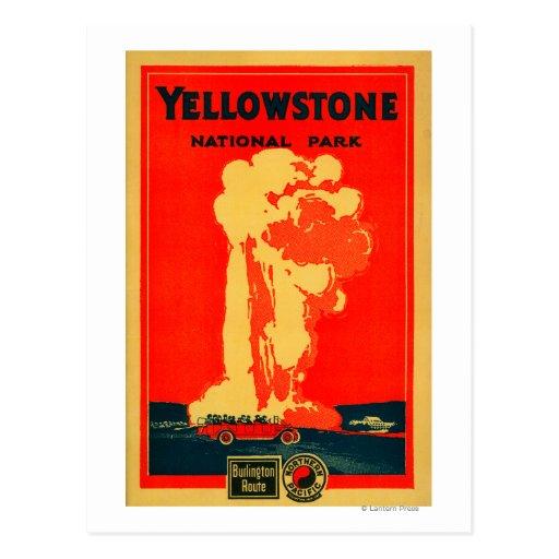 Yellowstone, poster fiel viejo de la publicidad postales