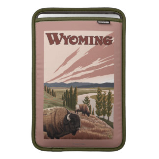 Yellowstone River Bison Vintage Travel Poster MacBook Air Sleeve