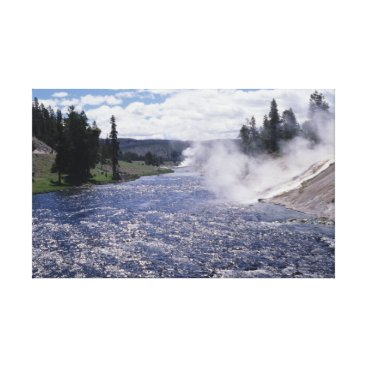 Art Themed Yellowstone River, Steam, Trees, and Sky CANVAS