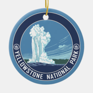 Yellowstone Souvenir - SINGLE-SIDED Double-Sided Ceramic Round Christmas Ornament