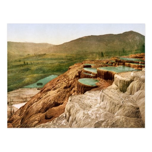 Yellowstone - terrazas del púlpito desde arriba postal