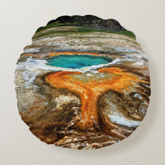 Yellowstone Thermal Pool Round Pillow