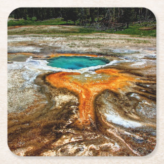 Yellowstone Thermal Pool Square Paper Coaster