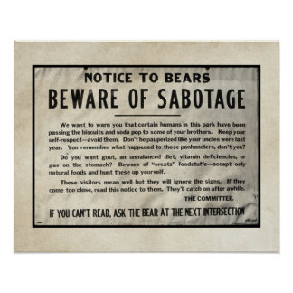 Yellowstone Warning Notice Park Bears 1959 Humor Poster