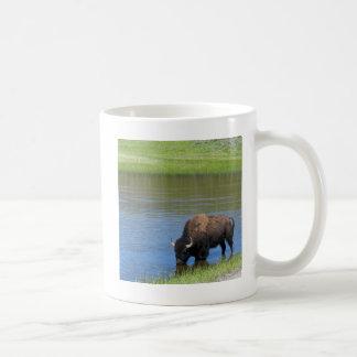 Yellowstone Wild Buffalo in Pond Coffee Mug