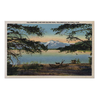 Yellowstone, WY - Yellowstone Lake and Colter Poster