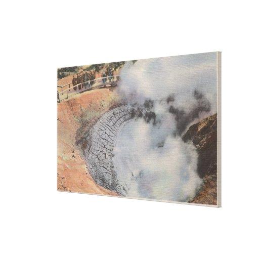 Yellowstone, WYView del cráter del volcán del fang Impresiones En Lona Estiradas