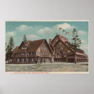 Yellowstone, WYView del mesón fiel viejo entero Póster