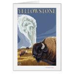 YellowstoneBison con fiel viejo Tarjeta De Felicitación