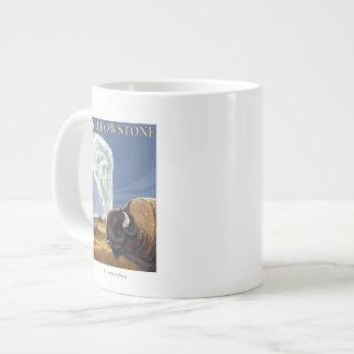 YellowstoneBison with Old Faithful Large Coffee Mug