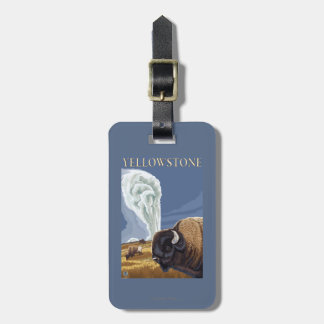 YellowstoneBison with Old Faithful Luggage Tag