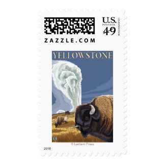 YellowstoneBison with Old Faithful Stamp