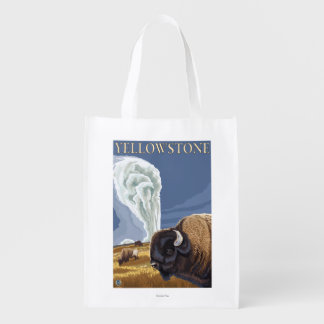 YellowstoneBison with Old Faithful Reusable Grocery Bag