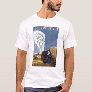 YellowstoneBison with Old Faithful T-Shirt