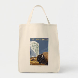 YellowstoneBison with Old Faithful Tote Bag
